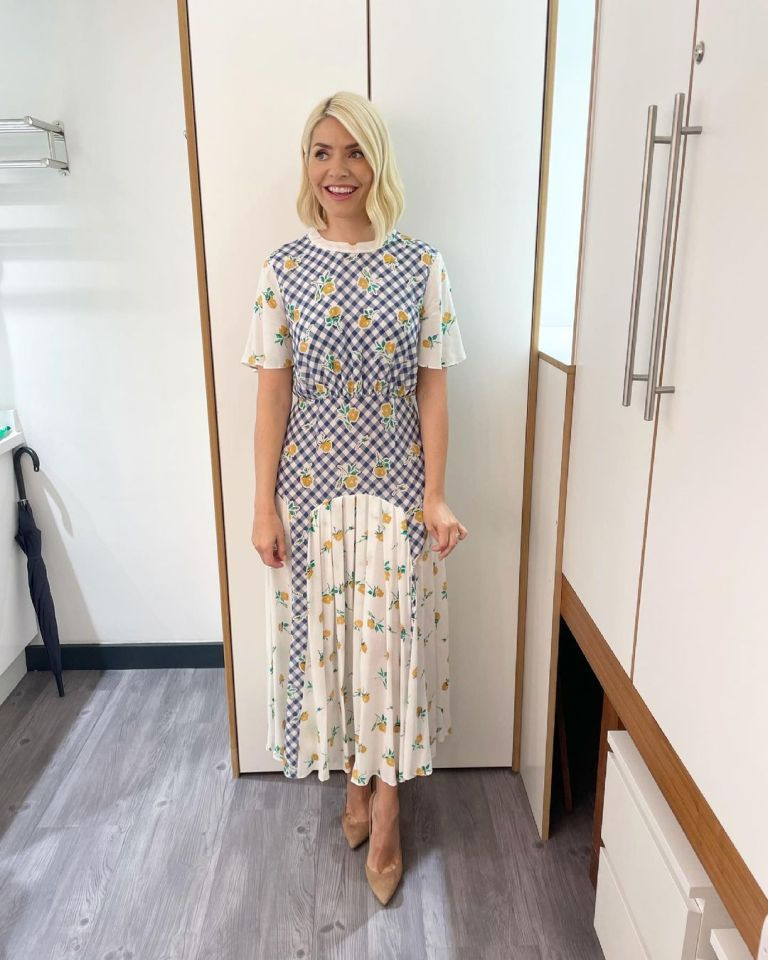 where to get all Holly Willoughby This Morning dresses blue gingham and yellow rose dress nude suede court shoes 6 July 2021 Photo Holly Willoughby