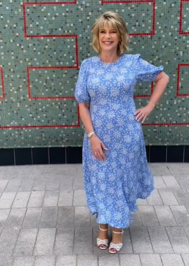 where to get all Ruth Langsford This Morning dresses blue and white floral puff sleeve midaxi dress 20 July 2021 Photo Ruth Langsford