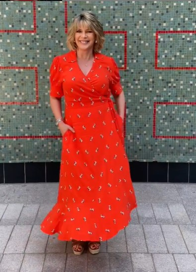 where to get all Ruth Langsford This Morning dresses Red Maxi Wrap dress tan wedges 22 July 2021 Photo Ruth Langsford