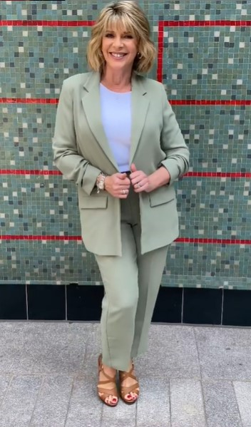 where to get all Ruth Langsford This Morning outfits green trouser suit white t-shirt tan sandals 21 July 2021 Photo Ruth Langsford