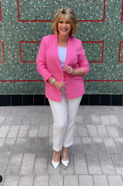 where to get all Ruth Langsford This Morning outfits pink blazer white t-shirt white trousers white court shoes 19 July 2021 Photo Ruth Langsford