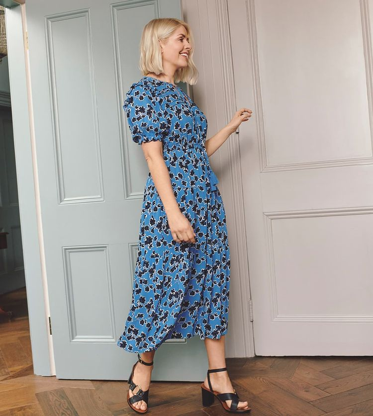 where to get Holly Willoughby blue and black floral midaxi dress black sandals 22 July 2021 Photo M&S