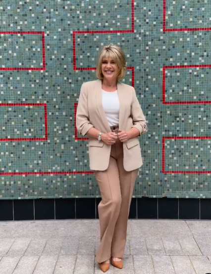 where to get Ruth Langsford Thid Morning outfit beige jacket camel trousers white top tsn shoes 13 July 2021 Photo Ruth Langsford