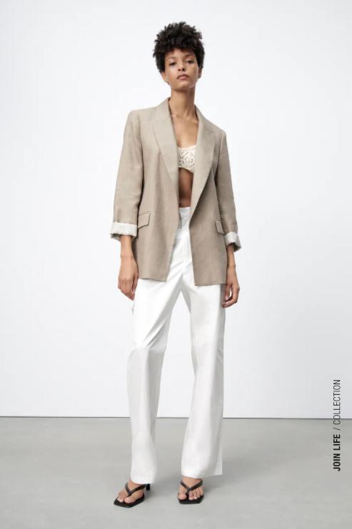 Zara Linen Blazer with Printed Cuffs