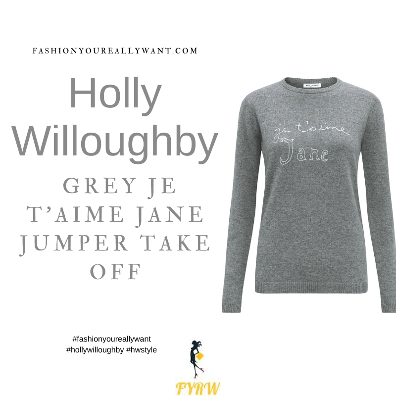 Where to get all Holly Willoughby Take Off outfits dresses blog August 2021 grey jumper je t'aime Jane