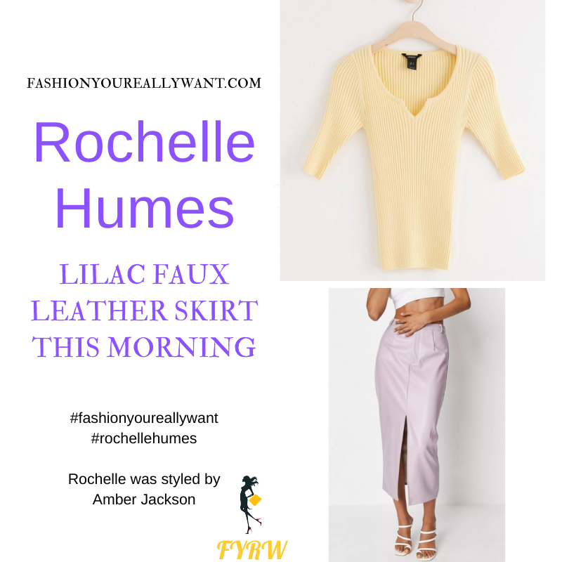 Where to get all Rochelle Humes This Morning outfits blog Augfust 2021 yellow short sleeve knit lilac faux leather pencil skirt cream plaited mules