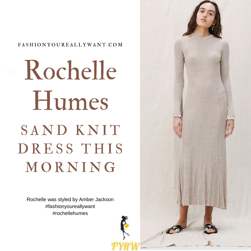 Where to get all Rochelle Humes This Morning outfits blog August 2021 beige sand knit dress nude mules