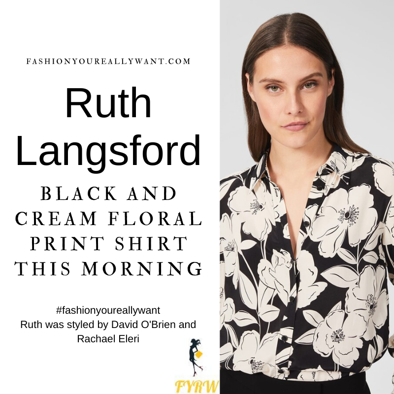 Where to get all Ruth Langsford This Morning outfits blog August 2021 cream and black floral shirt black trousers