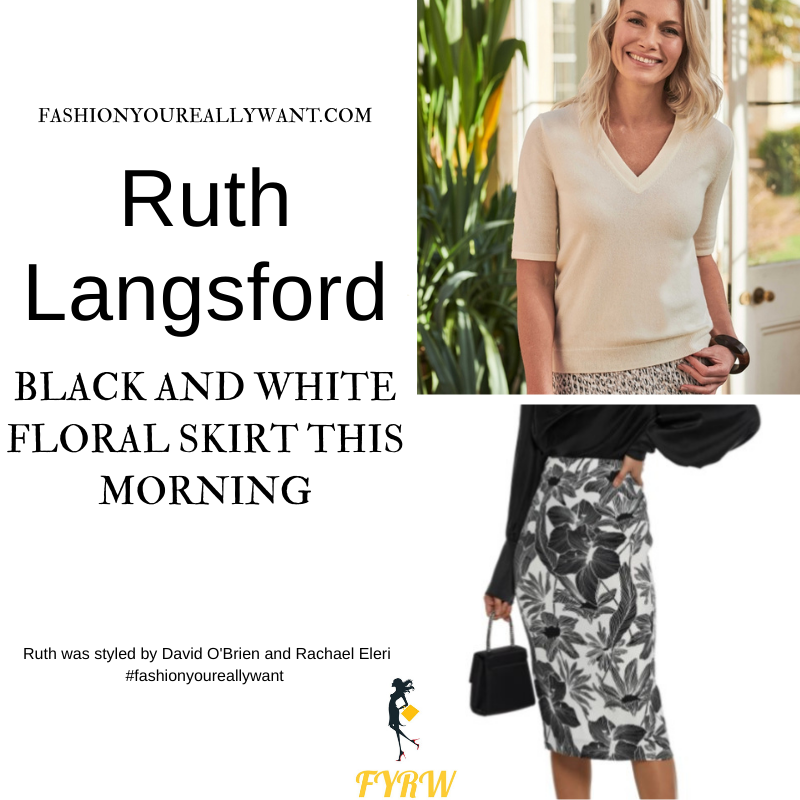 Where to get all Ruth Langsford This Morning outfits blog August 2021 black and white floral pencil skirt white short sleeve knit black court shoes