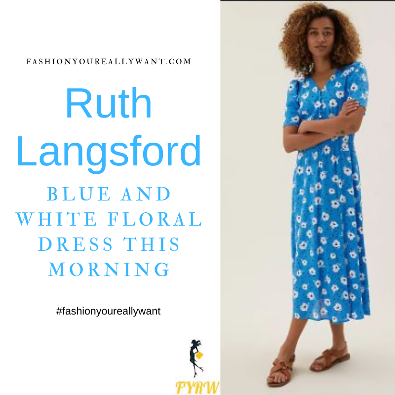 Where to get all Ruth Langsford This Morning outfits blog August 2021 blue v neck short sleeve midi dress white flowers