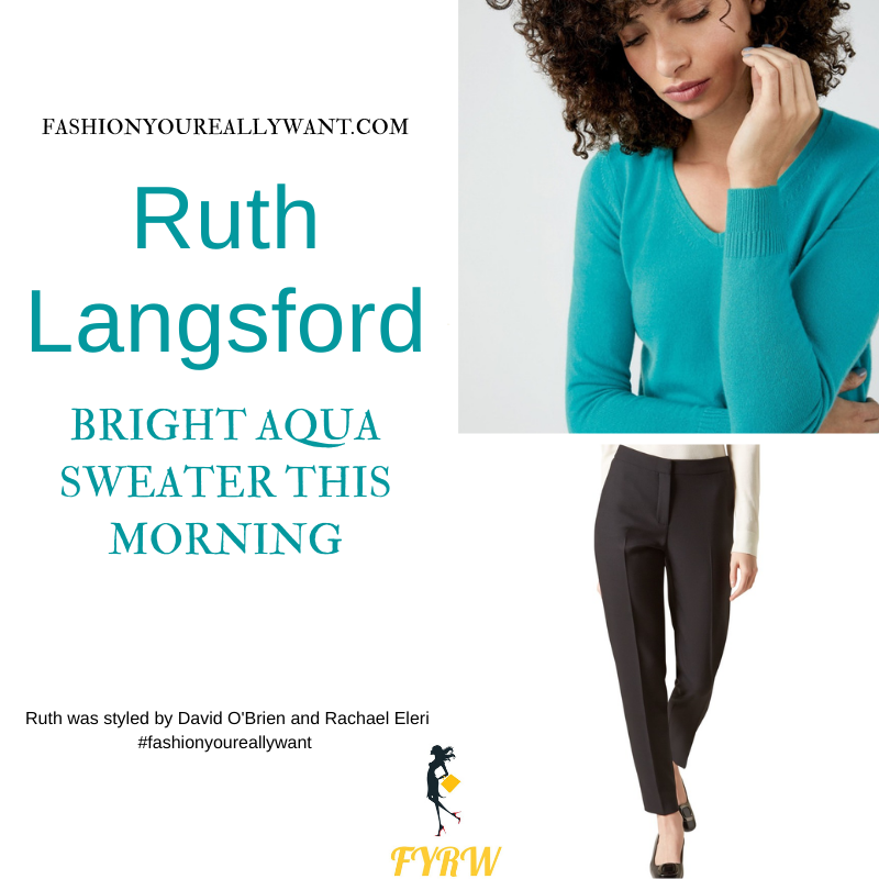 Where to get all Ruth Langsford This Morning outfits blog August 2021 aqua v neck knit black tapered trousers black croc court shoes