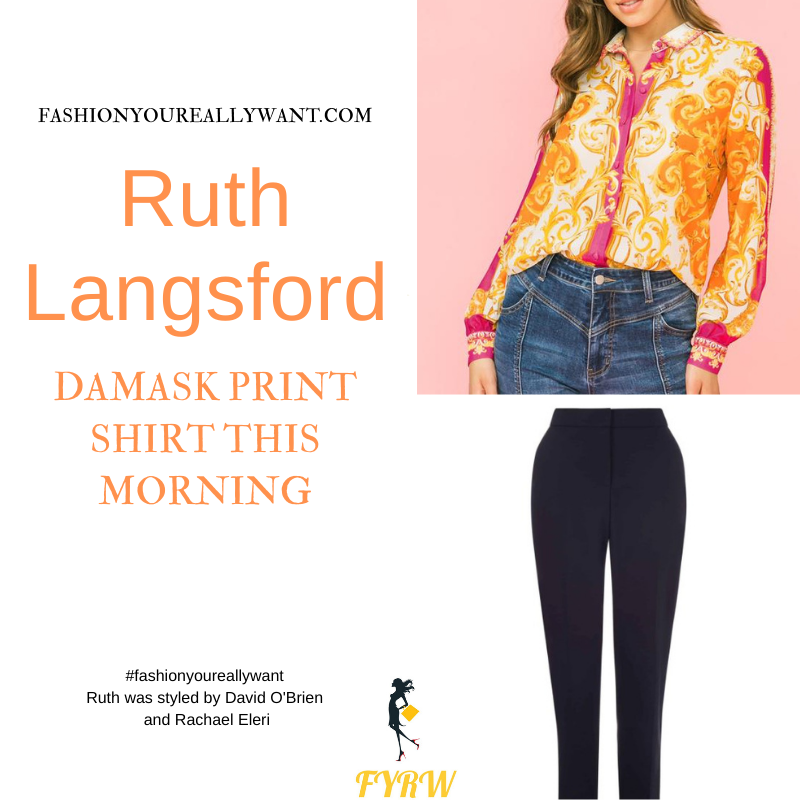 Where to get all Ruth Langsford This Morning outfits blog August 2021 pink orange baroque damask shirt navy trousers tan strappy sandals