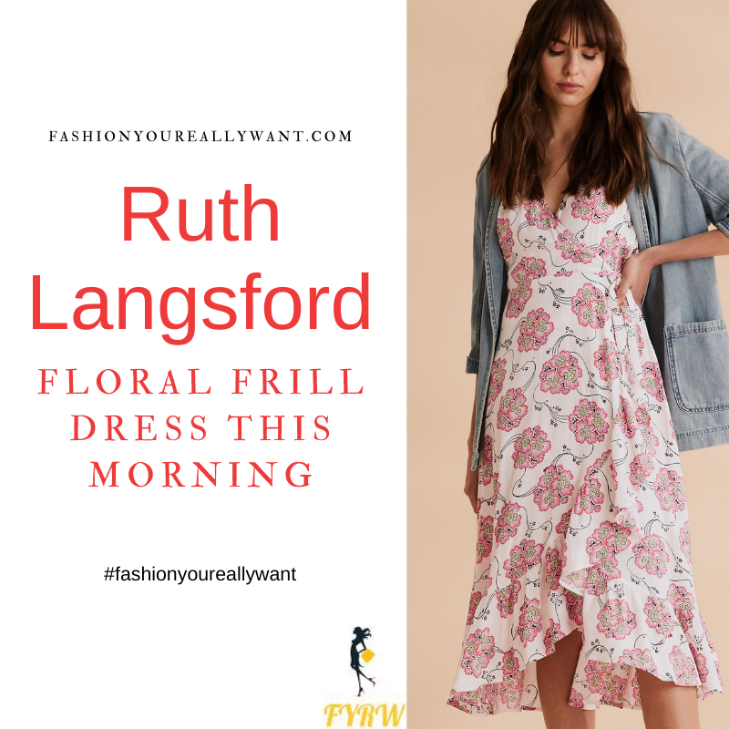 Where to get all Ruth Langsford This Morning outfits blog August 2021 white wrap puff sleeve floral dress