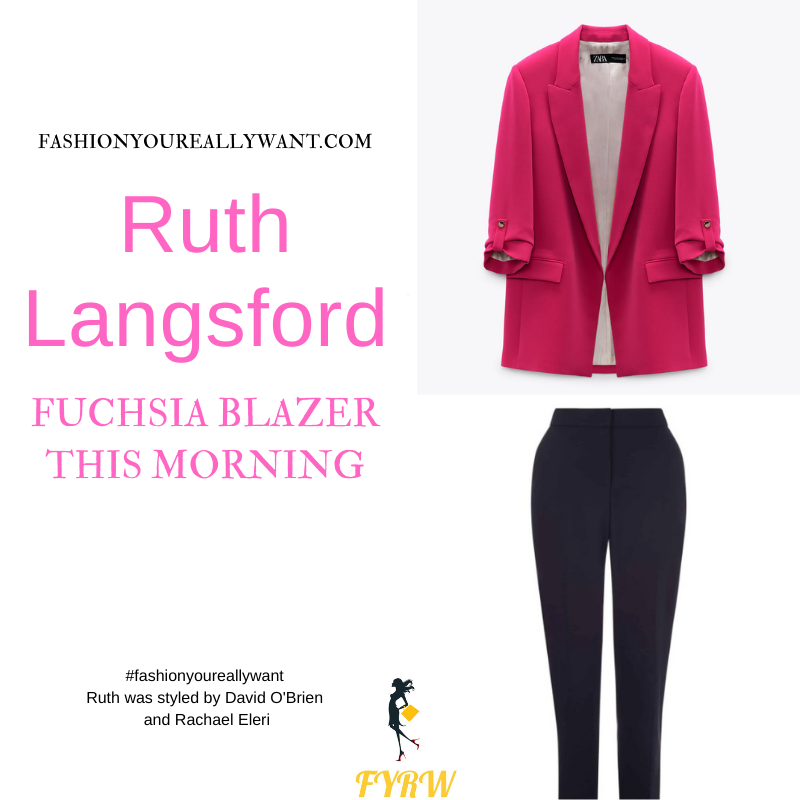 Where to get all Ruth Langsford This Morning outfits blog August 2021 fuchsia pink blazer white top navy trousers navy suede court shoes