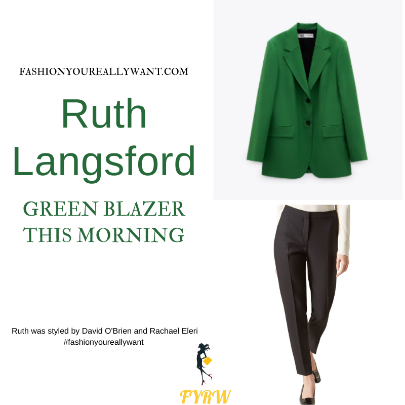 Where to get all Ruth Langsford This Morning outfits blog August 2021 green jacket white t-shirt black trousers black court shoes