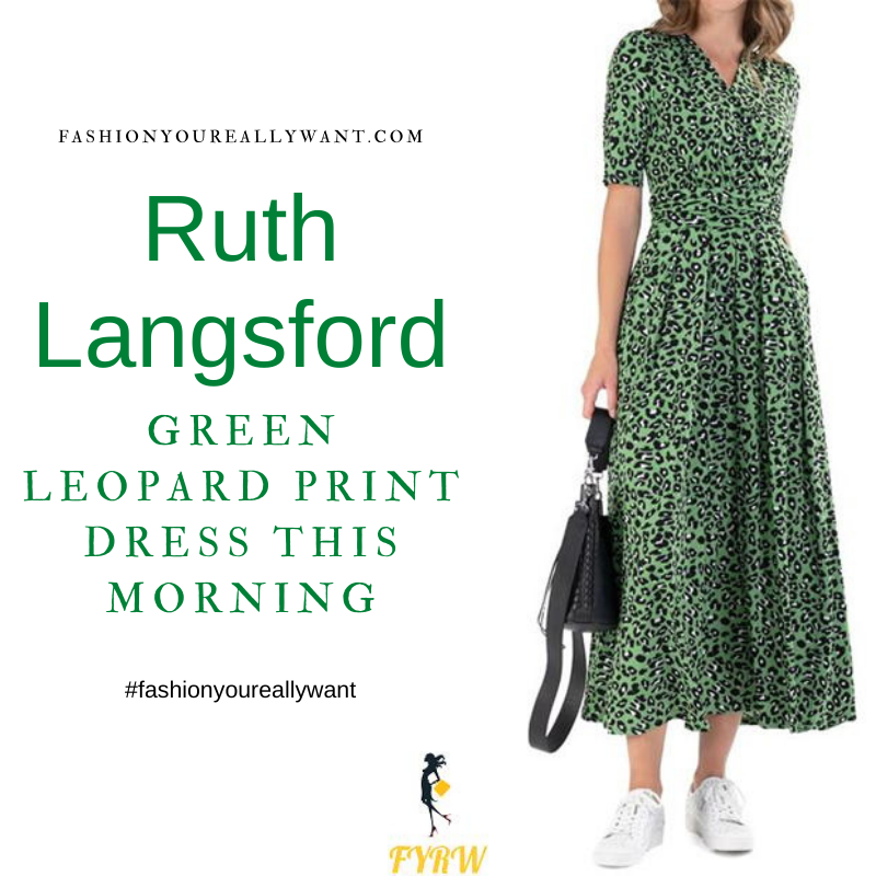 Where to get all Ruth Langsford This Morning outfits blog August 2021 green leopard animal print wrap maxi dress