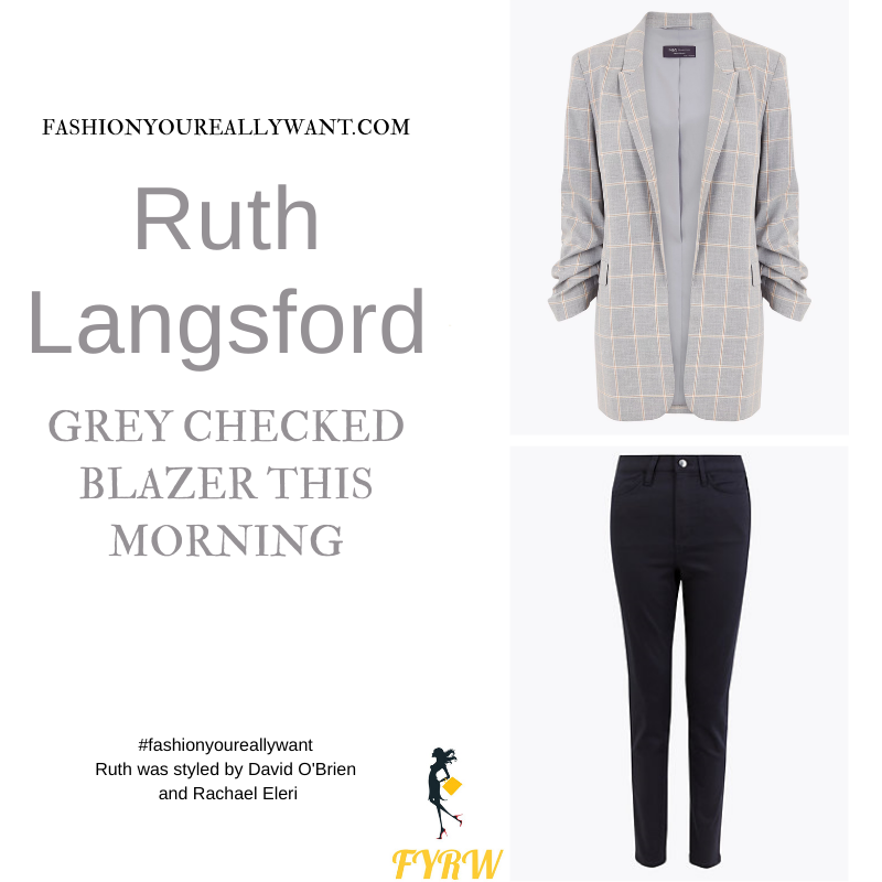 Where to get all Ruth Langsford This Morning outfits blog August 2021 grey checked blazer blue top blue skinny jeans tan sandals