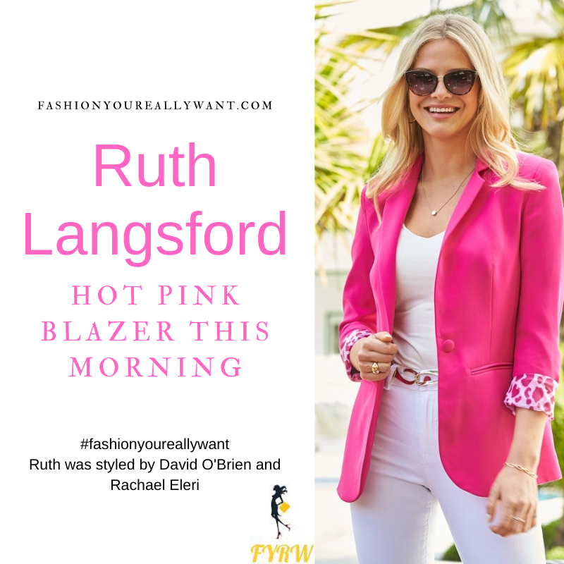 Where to get all Ruth Langsford This Morning outfits blog August 2021 hot pink blazer with leopard lining white top