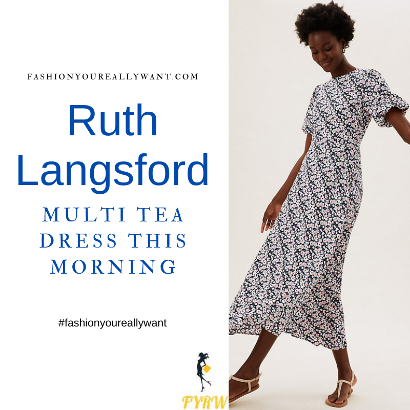 Where to get all Ruth Langsford This Morning outfits blog August 2021 floral midaxi tea dress
