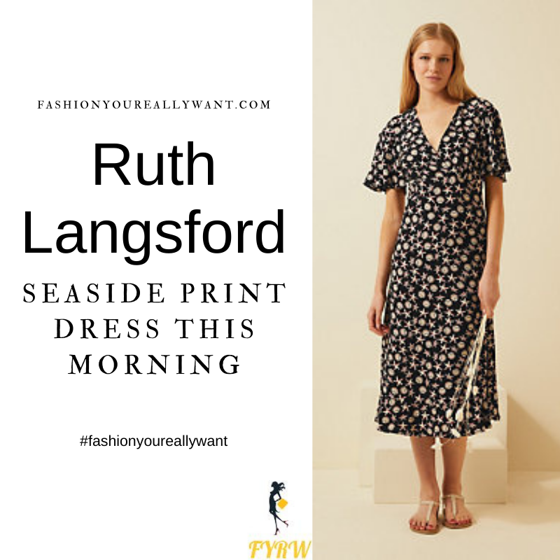 Where to get all Ruth Langsford This Morning outfits blog August 2021 black seaside shell starfish print wrap angel Sleeve midi dress