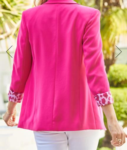 SosandarHot Pink Leopard Print Lining Blazer back view