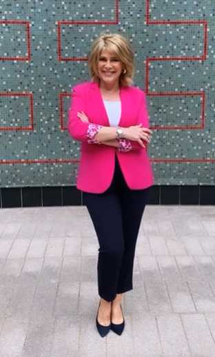 where to get all Ruth Langsford This Morning outfits hot pink leopard lined blazer whte top navy trousers navy suede court shoes 13 August 2021 Photo Ruth Langsford