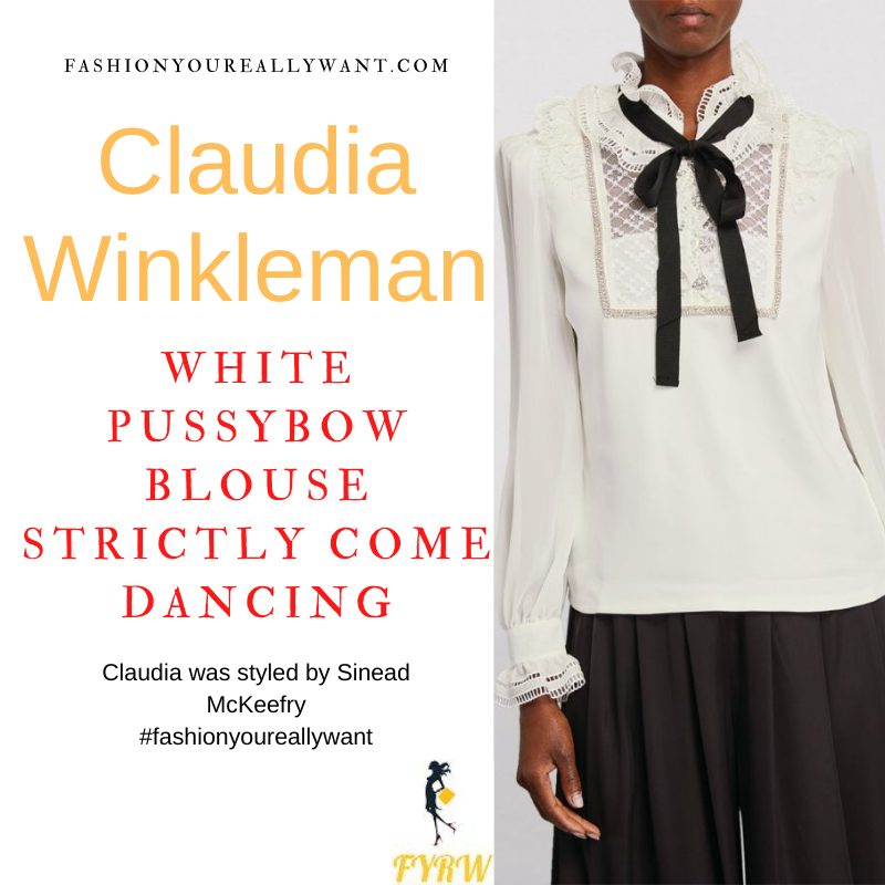 Claudia Winkleman Wore This on Strictly Come Dancing Launch Show September 2021 where to get her outfits white lace pussybow blouse white trousers