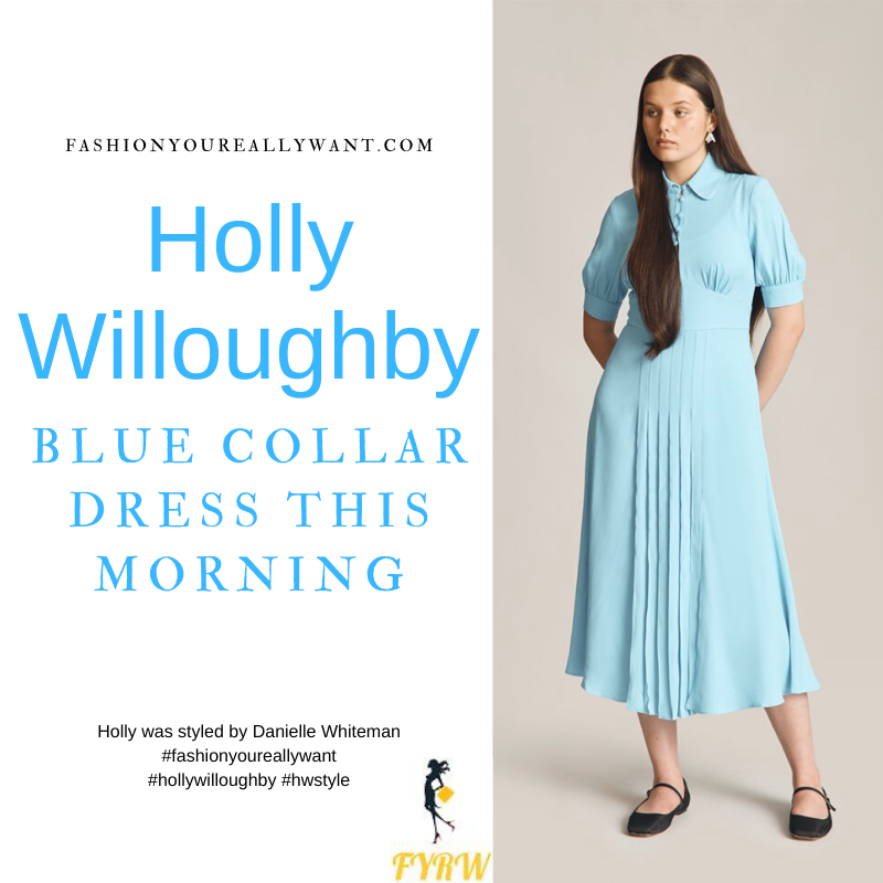 Where to get all Holly Willoughby This Morning outfits dresses blog September 2021 blue collar covered button pleat front midi dress nude suede court shoes