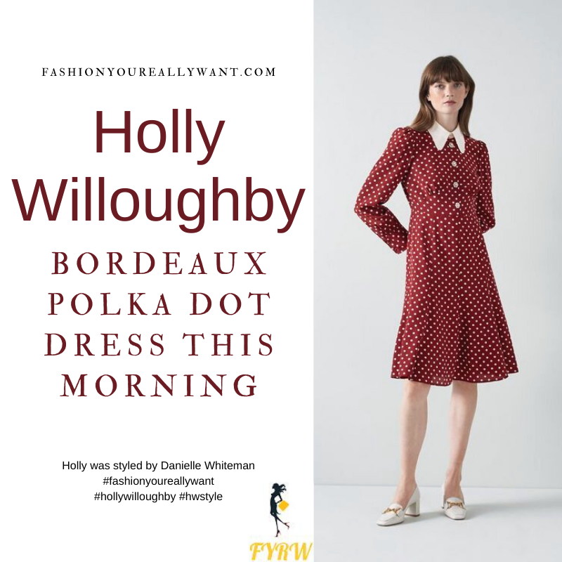Where to get all Holly Willoughby This Morning outfits dresses blog September 2021 dark red and cream polka dot dress with white collar and crystal buttons nude suede court shoes