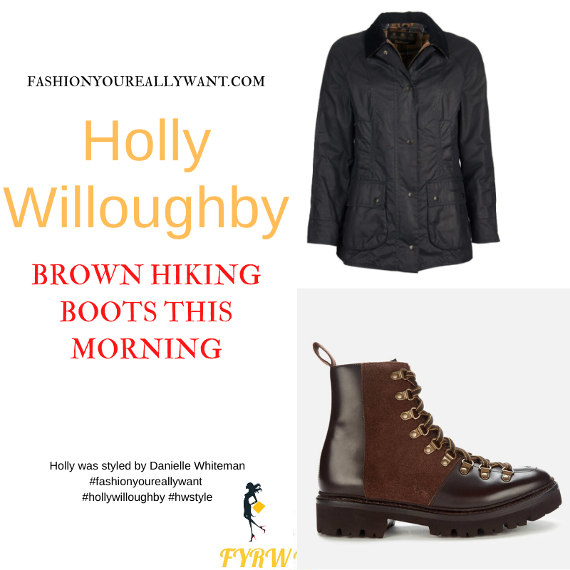 Where to get all Holly Willoughby This Morning outfits dresses blog September 2021 brown hiking botts beige embroidered cardigan blue jeans blue wax jacket tartan lining