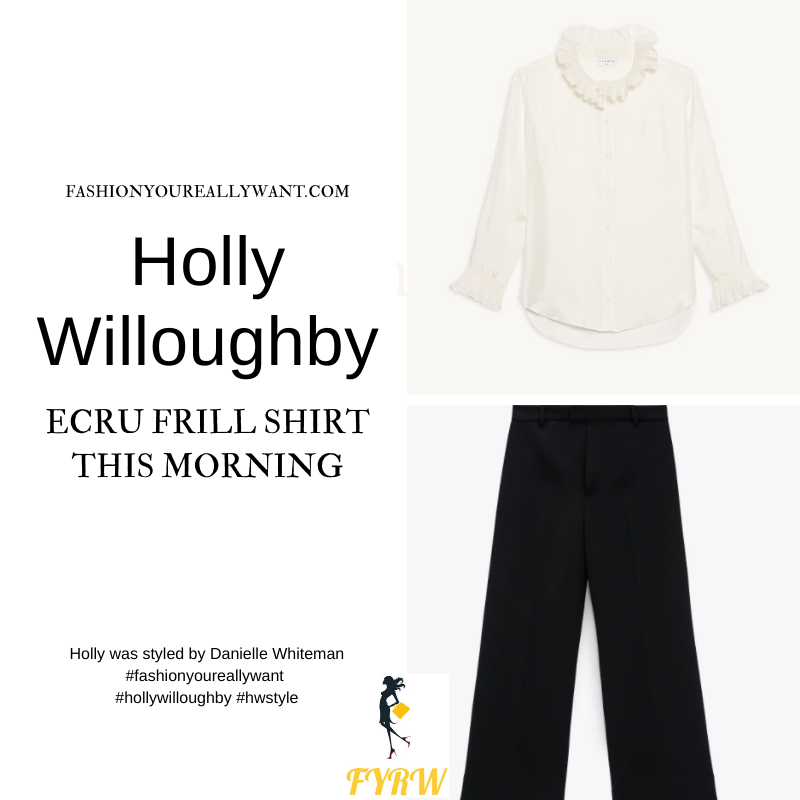 Where to get all Holly Willoughby This Morning outfits dresses blog September 2021 ecru frill neck cuff shirt black knit tank top black culottes black suede court shoes