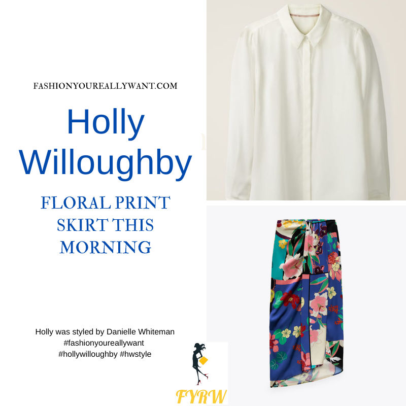 Where to get all Holly Willoughby This Morning outfits dresses blog September 2021 ivory shirt multi floral skirt black suede sandals