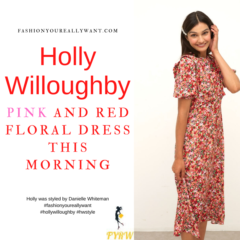 Where to get all Holly Willoughby This Morning outfits dresses blog September 2021 pink and red floral puff sleeve midi dress nude suede court shoes