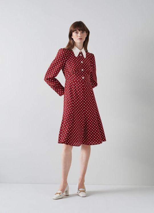 LK Bennett Mathilde Bordeaux and Cream Polka Dot Silk Tea Dress