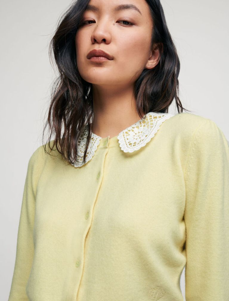 Maje Cashmere Cardigan With Guipure Collar