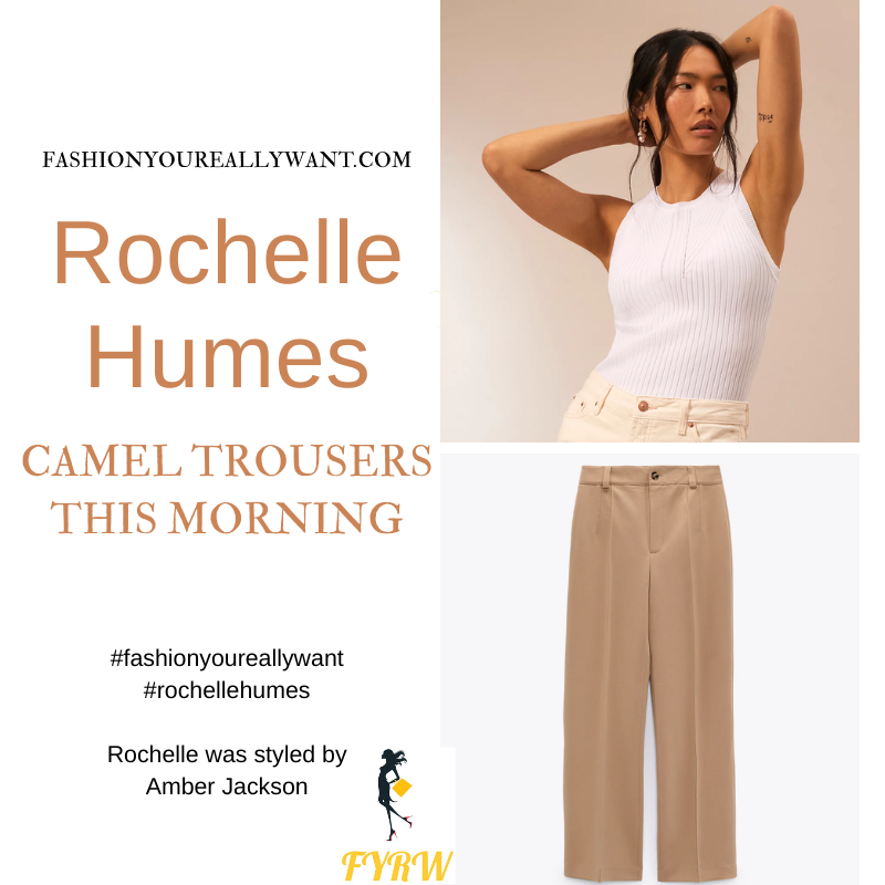 Where to get all Rochelle Humes This Morning outfits blog September 2021 camel trouser white knit top striped shirt cream mules