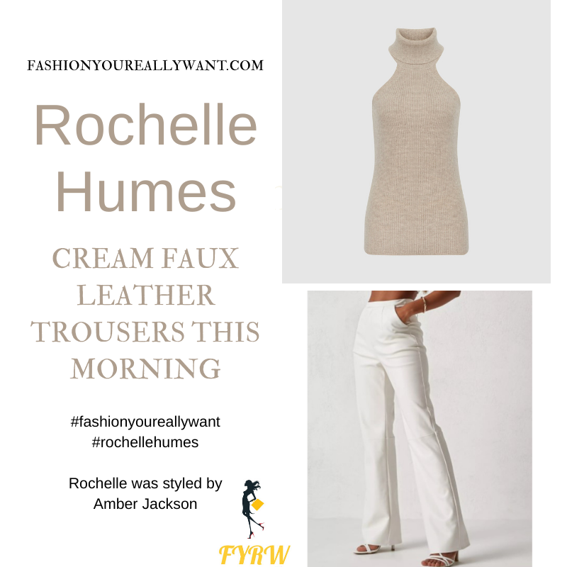 Where to get all Rochelle Humes This Morning outfits blog September 2021 white cream faux leather trousers oatmeal roll neck sleeveless knit top nude mules