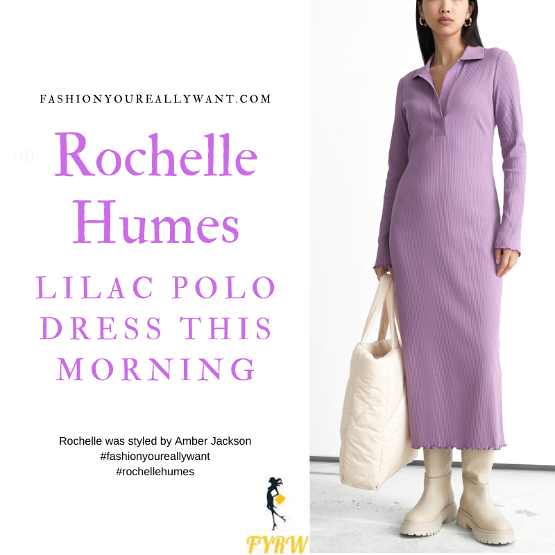 Where to get all Rochelle Humes This Morning outfits blog September 2021 purple lilac ribbed polo dress purple croc boots