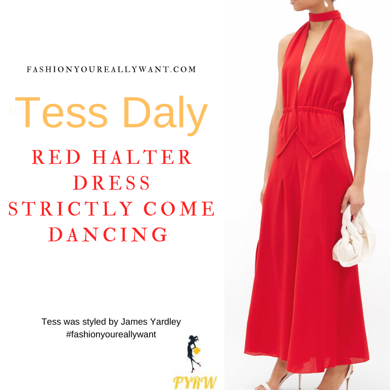 Tess Daly Strictly Come Dancing Launch Show September 2021 where to get her outfits red halterneck dress nude sandals