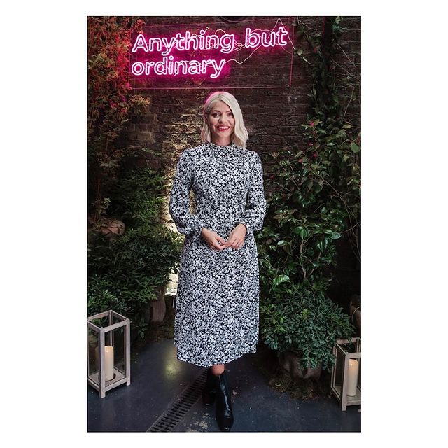 where to get all Holly Willoughby dresses black and white floral long sleeve midi dress black ankle boots M&S anything but ordinary Autumn collection 8 September 2021 Photo M&S