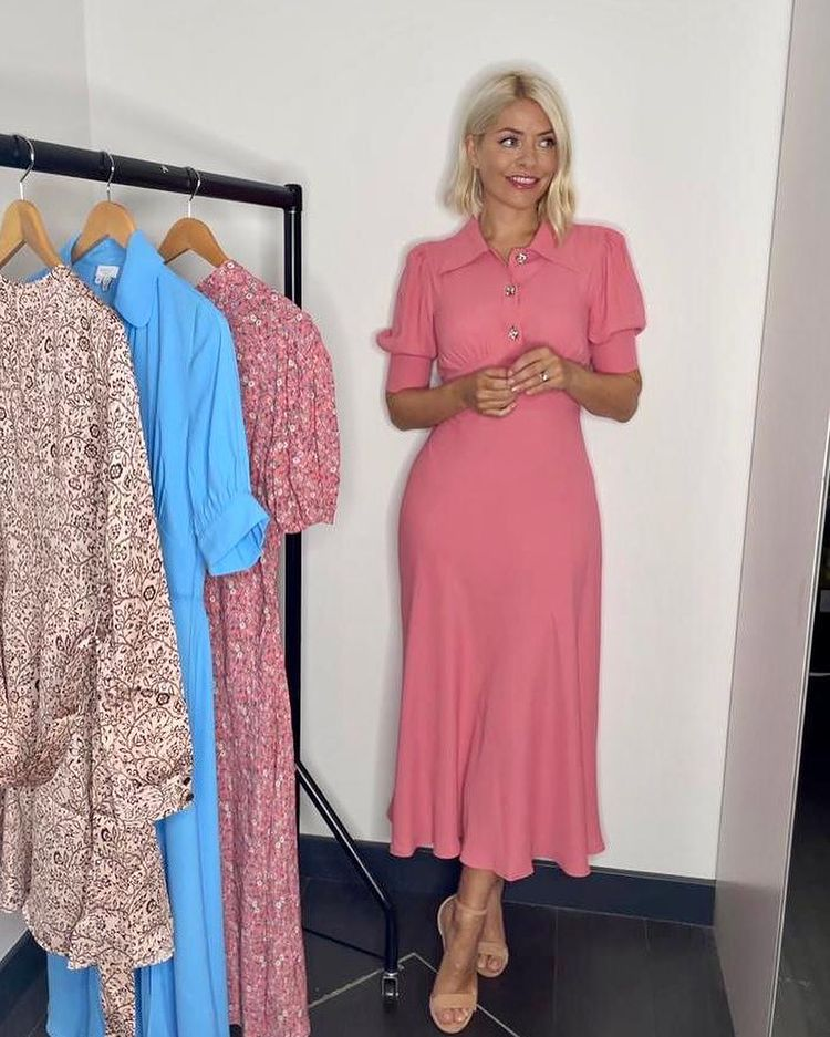 where to get all Holly Willoughby This Morning dresses pink midi tea dress crystal buttons nude suede sandals 6 September 2021 Photo Holly Willoughby