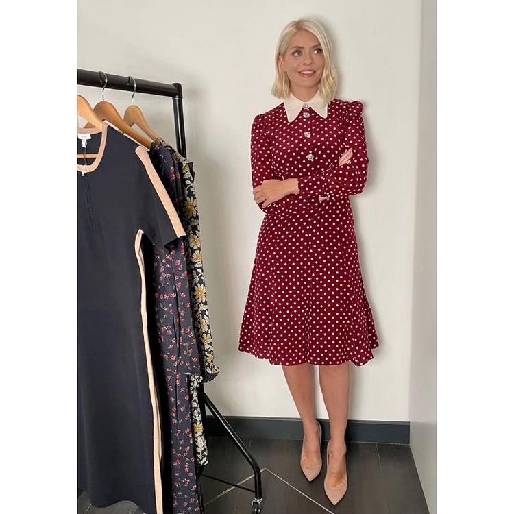 where to get all Holly Willoughby This Morning dresses red bordeaux cream polka dot dress with collar nude suede court shoes 15 September 2021 Photo Holly Willoughby