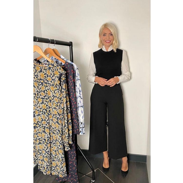 where to get all Holly Willoughby This Morning outfits ecru rill shirt black tank top black culottes black suede court shoes 14 September 2021 Photo Holly Willoughby