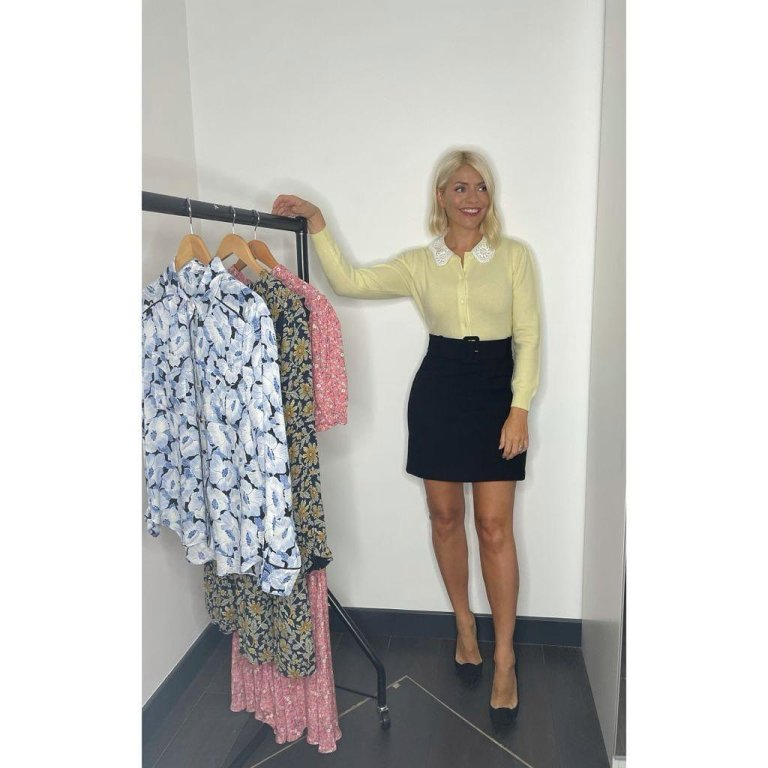 where to get all Holly Willoughby This Morning outfits yellow caridan with lace collar black belted mini skirt black shoes 9 September 2021 Photo Holly Willoughby