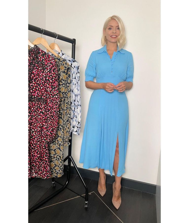 where to get all Holly Willoughy This Morning dresses blue collar midi dress pleat fron nude suede court shoes 13 September 2021 Photo Holly Willoughby