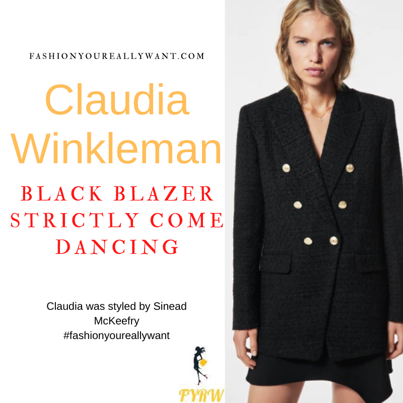Claudia Winkleman Wore This on Strictly Come Dancing Week 2 Results October 2021 where to get her outfits black blazer black cropped legging nude suede court shoes