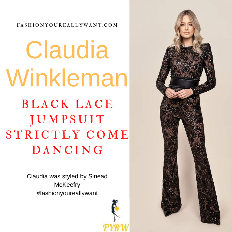 Claudia Winkleman Strictly Come Dancing Week 4 October 2021 where to get her outfits black lace sequin catsuit jumpsuit