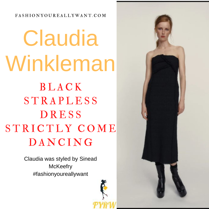 Claudia Winkleman Strictly Come Dancing Week 3 October 2021 where to get her outfits black strapless sparkle dress red court shoes hoop earrings