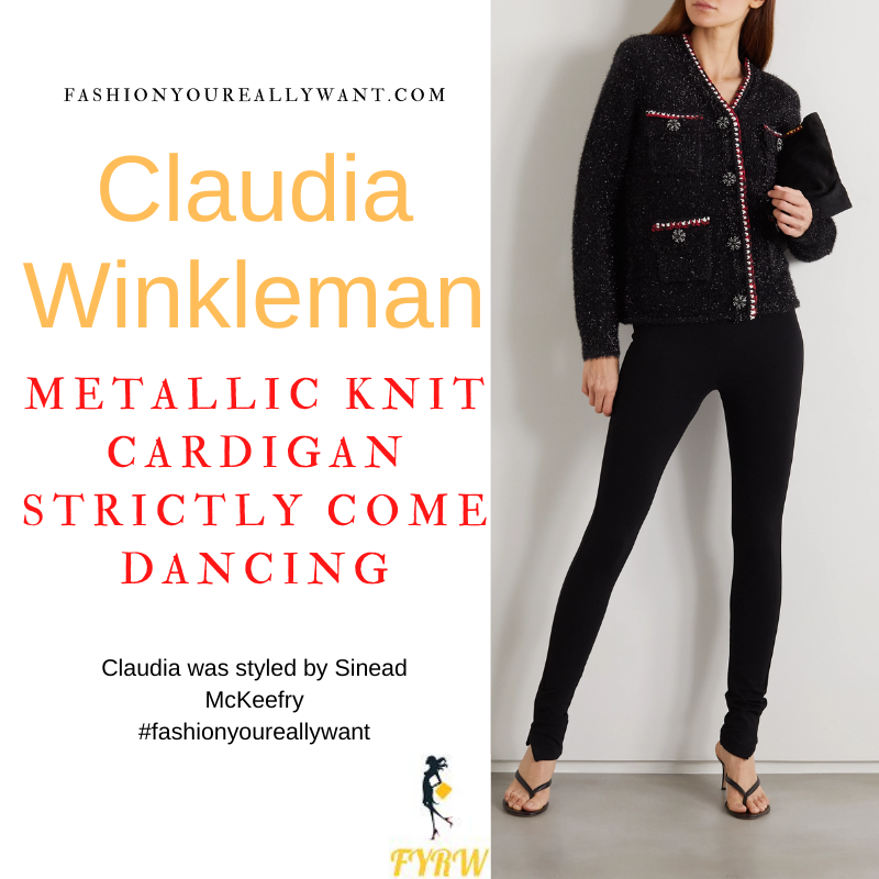 Claudia Winkleman Strictly Come Dancing Week 3 Results October 2021 where to get her outfits black metallic embellished cardigan black shorts nude suede court shoes