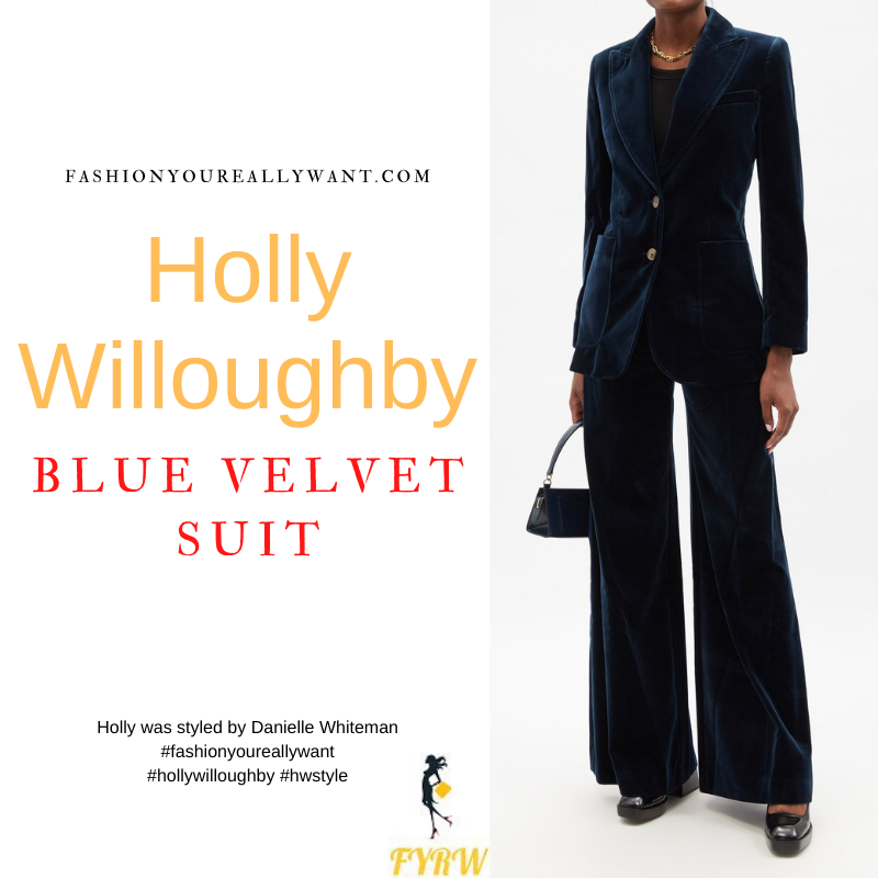 Where to get all Holly Willoughby outfits dresses blog September 2021 navy blue velvet trousers and jacket Wylde Moon